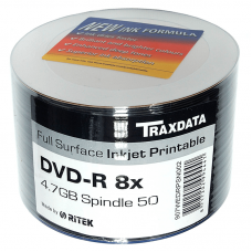 50PK Traxdata 8x DVD-R Media Full Face Printable DVD Media And Accessories