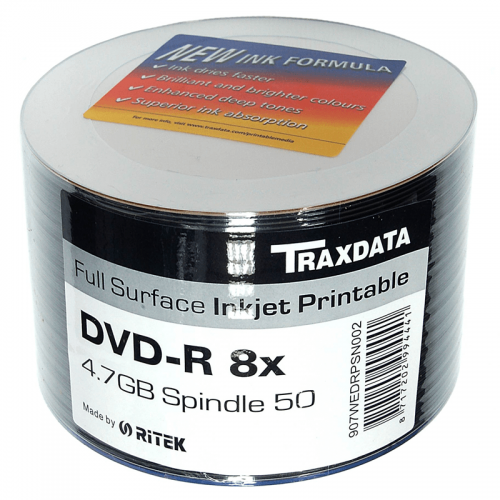 50PK Traxdata 8x DVD R Media Full Face Printable And Accessories